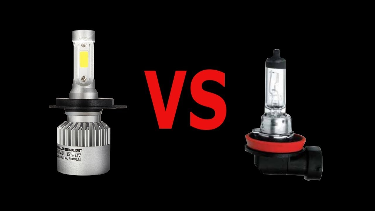Review Car LED Bulbs And Test Vs. Classic Halogen Bulbs // Test Both In  Same Time