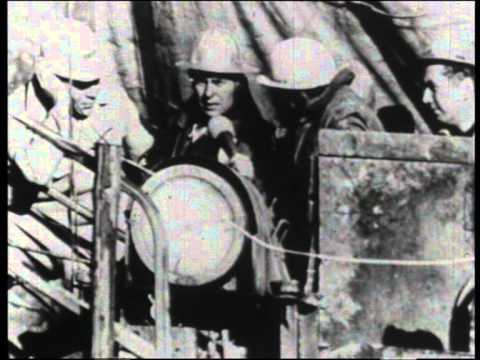 News footage of Deutag mine workers trapped - 1963