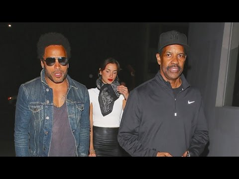 Denzel Washington Goes Nearly Unnoticed By Photogs When Joining Pal Lenny Kravitz For Vegan