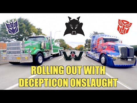 Rolling out with Decepticon Onslaught & Optimus Prime!!! - [DAIMLER TRUCKS VISIT 2017]