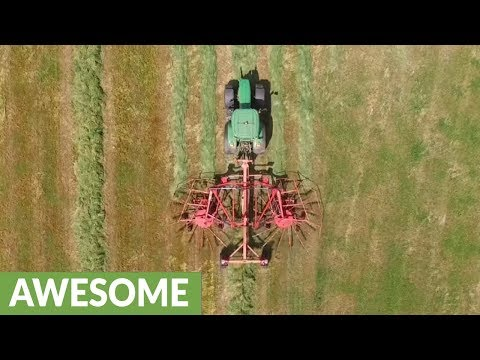 Satisfying drone footage: How to make hay bales in 3 simple steps
