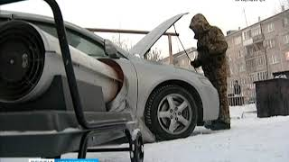Резкое похолодание заставило десятки красноярцев реанимировать свои автомобили