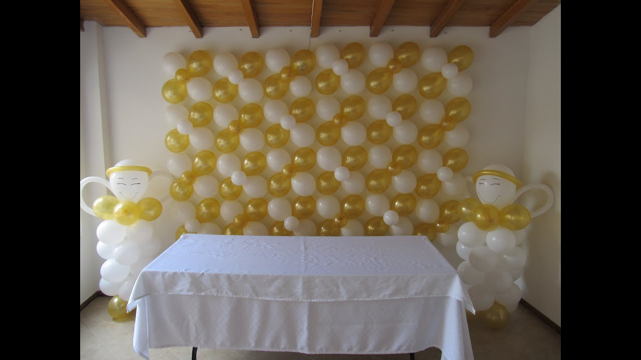 decoracion primera comunion arco pared uvas lamparas con globos medellin youtube