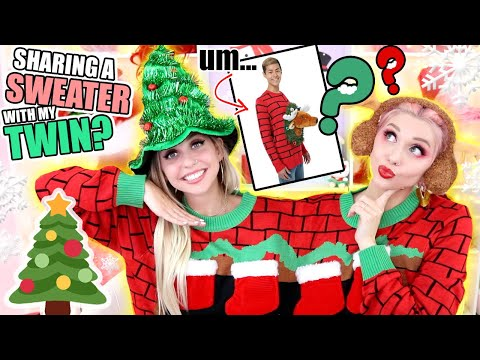 TRYING ON UGLY CHRISTMAS SWEATERS WITH MY TWIN! | Poletti Twins Ft Fun.com