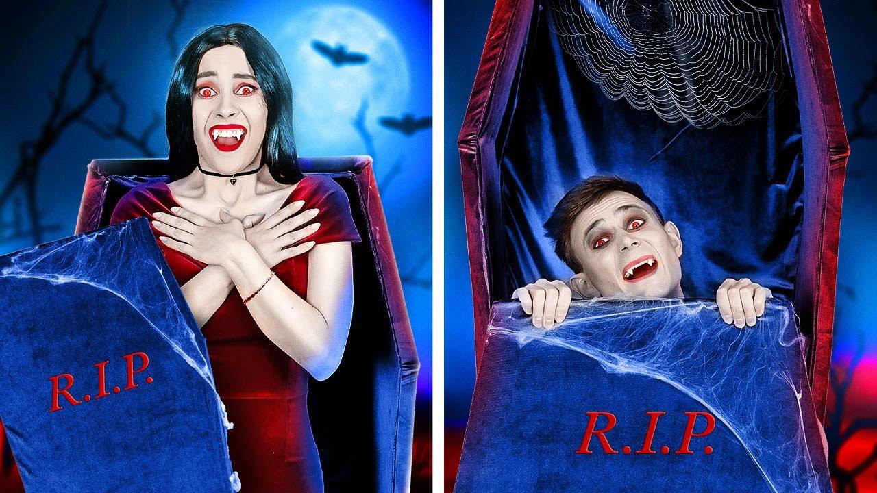 VAMPIRO BAJITO Y VAMPIRA ALTA || Situaciones tiernas y graciosas de vampiros por 123 GO!
