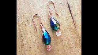 Wire wrapping tutorial `~ Teardrop Spiral Earrings - #1 Doodle Earring Series