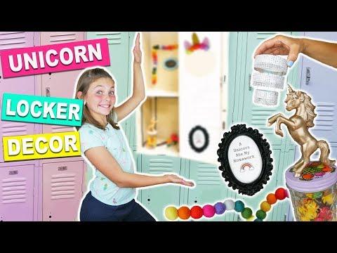Back To School DIY Rainbow UNICORN Locker Decor and Organization | How To DIY Ideas