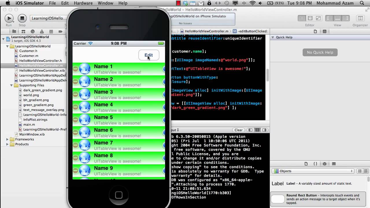 Learning iOS Development Part 10 (UITableView Delete Cells)