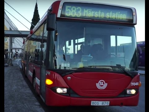 Sweden, bus 583, ride from Arlanda Airport Terminal 2 to Märsta  pendeltåg(commuter train) station