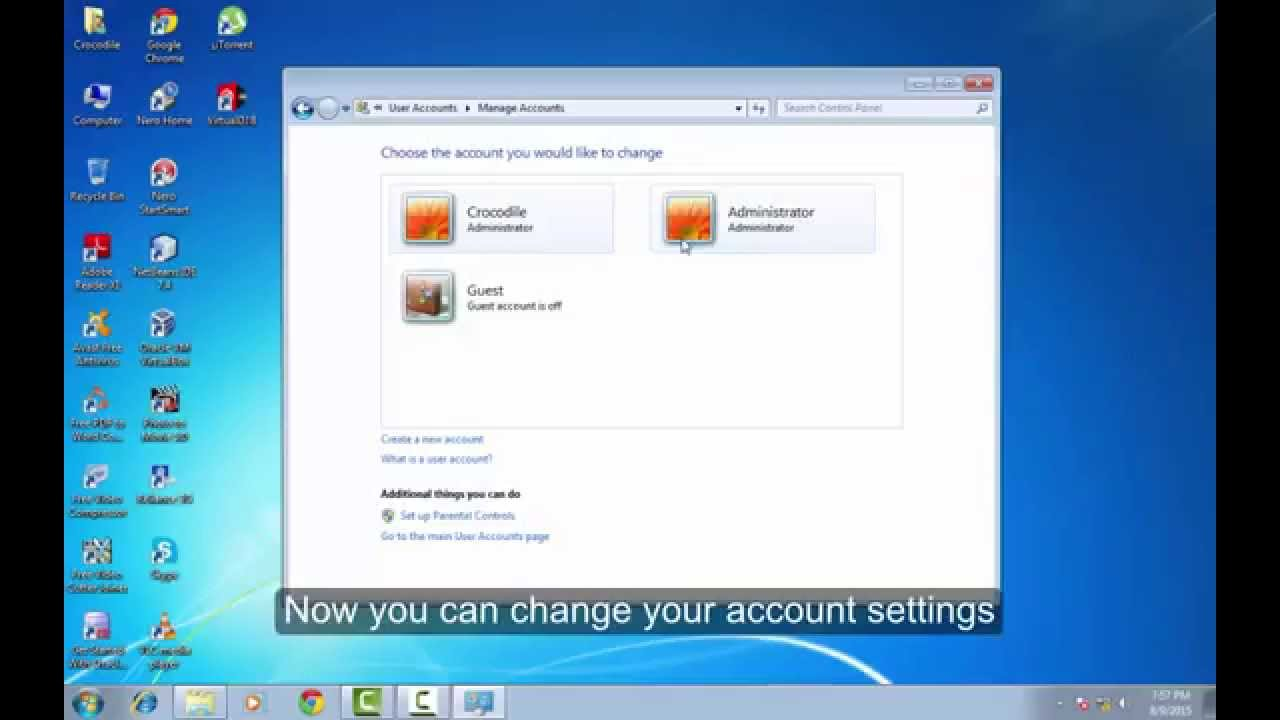 windows 7 home premium administrator account disabled