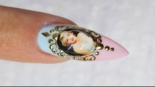 Liquid Jewel Nail Art with Sticker