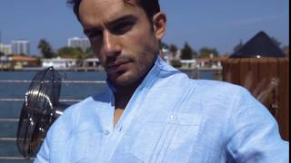 Cubavera 100% Linen Long Sleeve 2 Pocket Popover Shirt Delft CUWS50B6DS