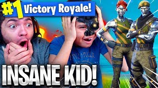 OMG *NEW* SKIN MADE MY 9 YEAR OLD BROTHER UNSTOPPABLE! TSM DAEQUAN HAIRLINE VS KAYLENS! FORTNITE BR
