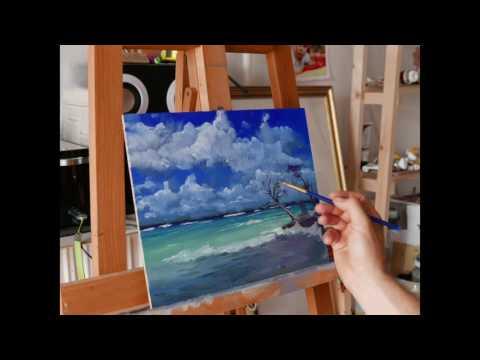 Caribbean landscape oil painting tutorial _Bakos ART