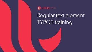 Regular text element - TYPO3 training