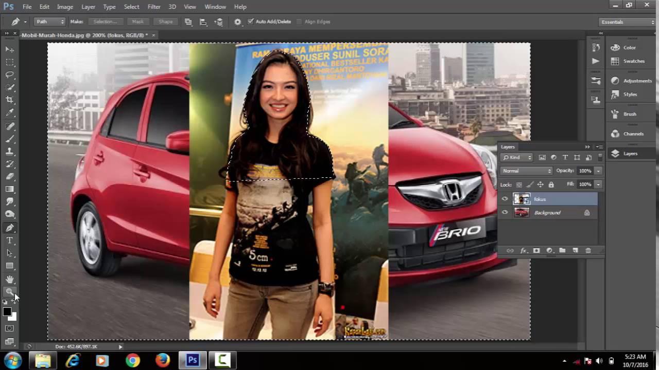 Belajar Photoshop Cara Memasukan Gambar Ke Objek Lain Youtube