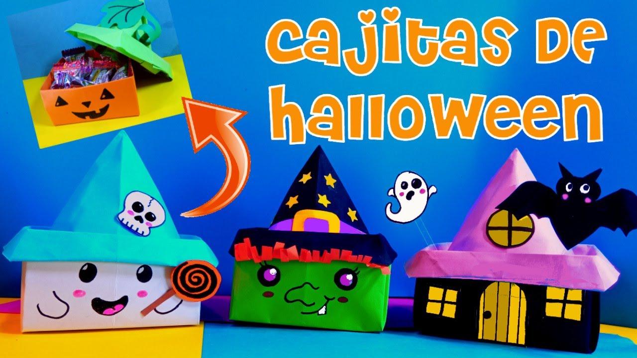 Manualidades de Halloween con papel Fáciles Dulceros Cajitas hojas colores Niños adornos origami
