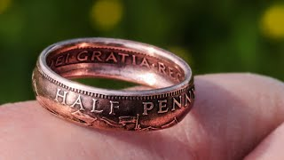 Make A Ring Out Of British Halfpenny Copper Coin