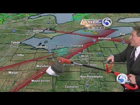 Weatherman Mark Johnson uses weed wacker on live TV