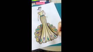 Эскиз от белого листа до законченного платья! Sketch from white paper to the dress