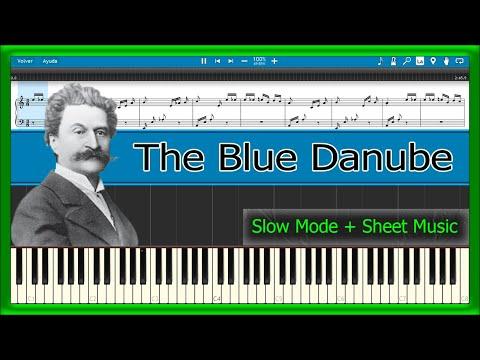 The Blue Danube - Johann Strauss [Slow + Sheet Music] (Piano Tutorial)