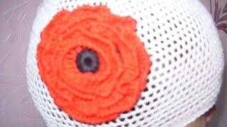 Вязание летней шапочки сеточкой крючком 5,6,7 ряд.