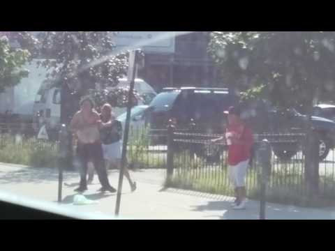 Fight Breaks Out On Main St.! - Worcester, MA