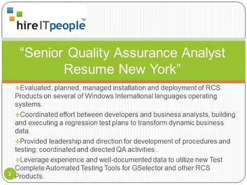 Senior Quality Assurance Analyst Resume New York