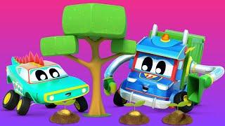 Супер Грузовик И Крокомобиль спасают планету Автомобильный город Детские мультфильмы