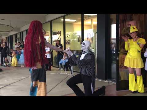 """Jack & Sally SURPRISE PROPOSAL!!! """"The Nightmare Before Christmas"""" Music Alley Performance"""