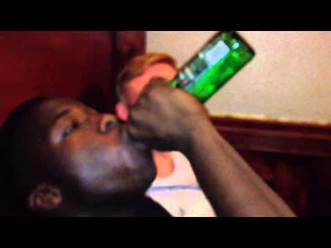 Victor Downing a Becks (2 straws)