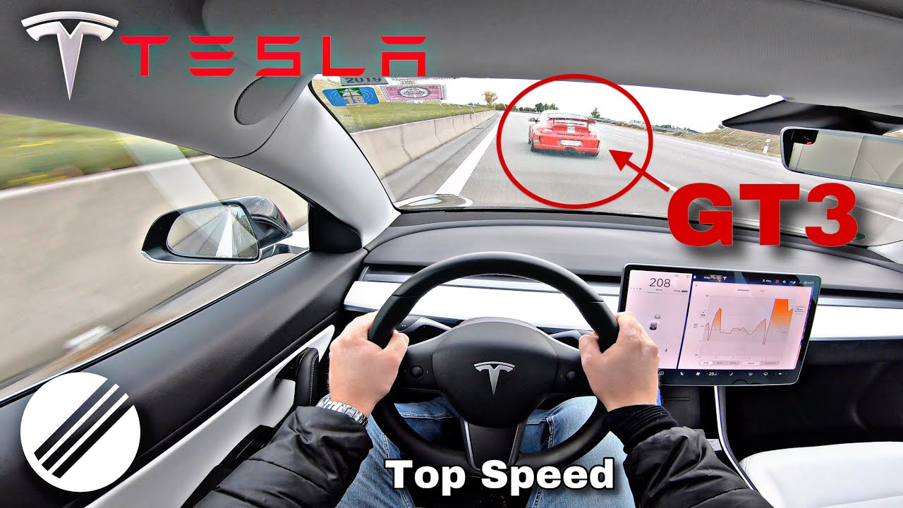 TESLA MODEL 3 460HP TOP SPEED DRIVE ON GERMAN AUTOBAHN 🏎