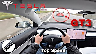 TESLA MODEL 3 460HP TOP SPEED DRIVE ON GERMAN AUTOBAHN 🏎