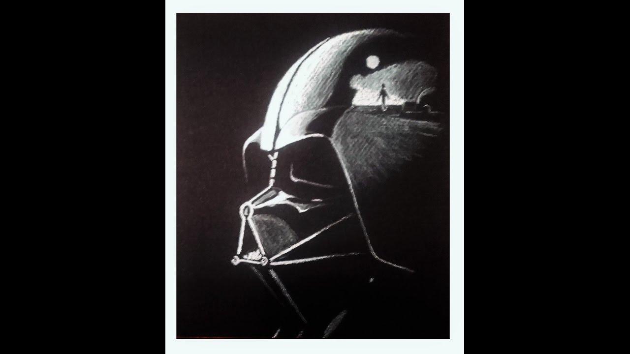 Dessiner dark vador r aliste pastel sec sur feuille noire speed drawing youtube - Dessin dark vador ...