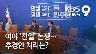 """민주 """"新친일"""" 압박에 한국 """"靑·與 한심""""…추경 물 건너가나 / KBS뉴스(News)"""