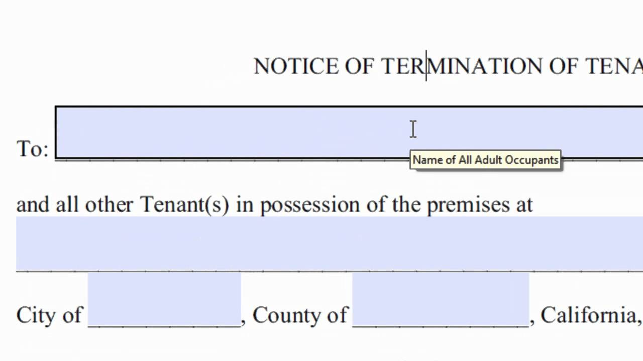 Sample Lease Termination Letter To Tenant: 30 Day Notice To Quit Or Terminate Tenancy