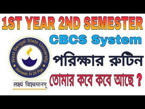 1st year 2nd semester exam routine | CBCS system | WBSU