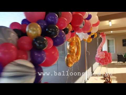 Organic Arch and Flamingo - Balloons Online Decor Video Tour