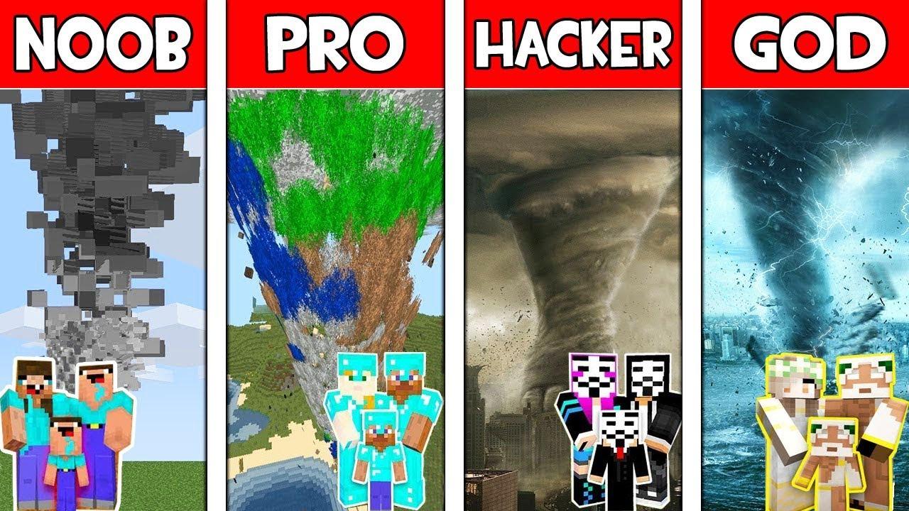 Minecraft NOOB vs PRO vs HACKER vs GOD : FAMILY SUPER TORNADO in Minecraft! Animation