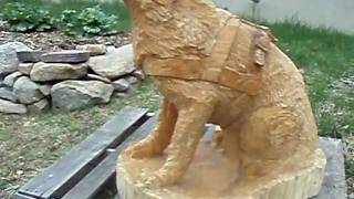 German Shepherd Dog With Harness ~chainsaw Carving~ By Aya Blaine