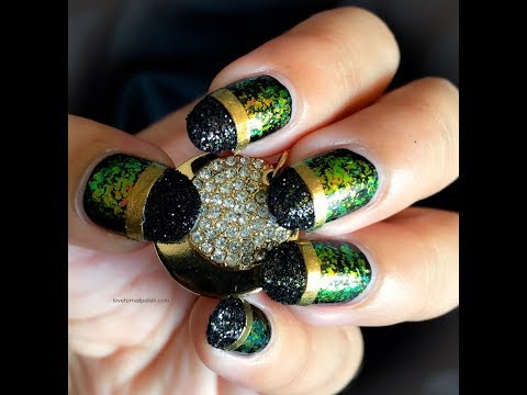 Black Glitter Tips Nail Art Design ~ DIY Nails Stickers with Scotch Tape
