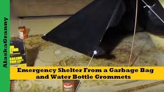 Emergency Shelter From A Garbage Bag And Water Bottle Grommets