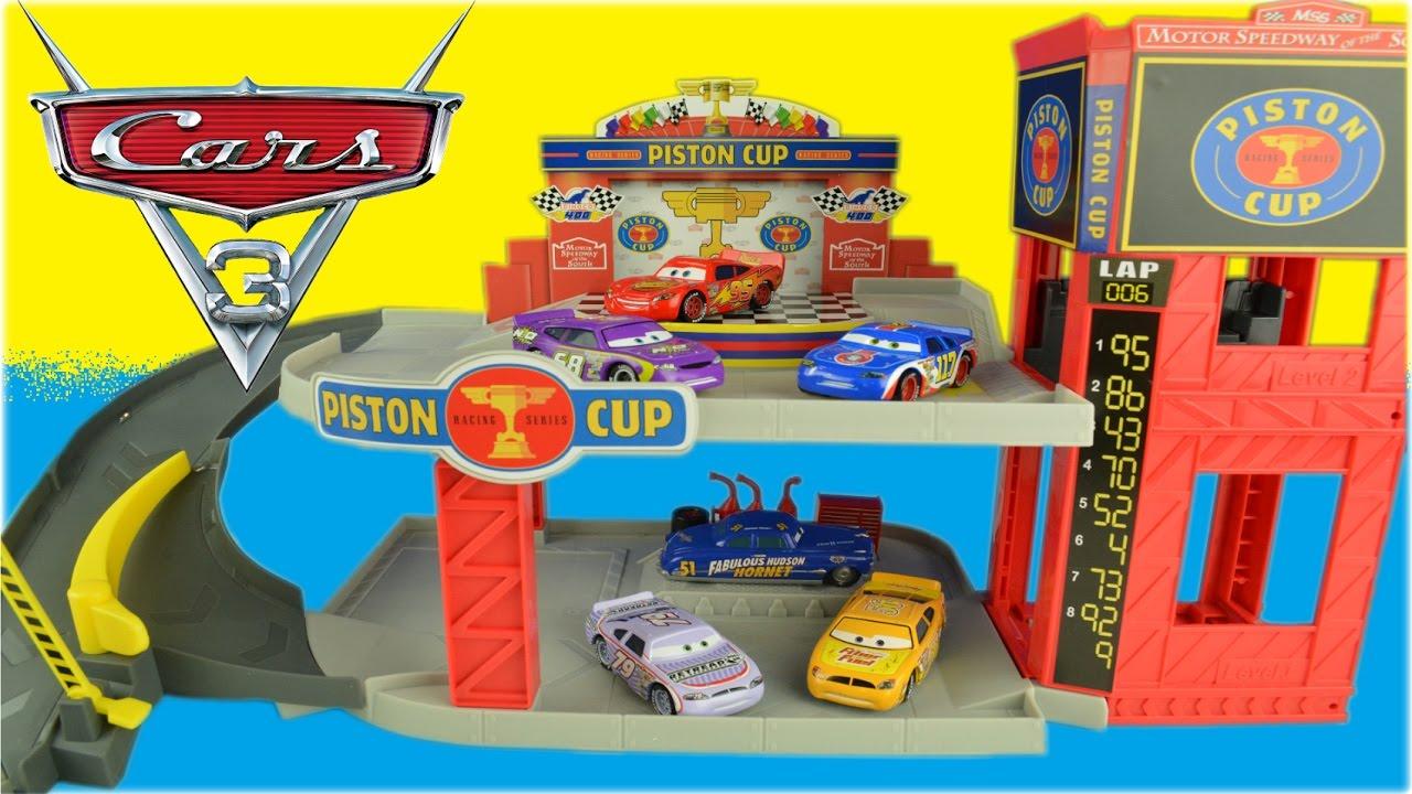 Mattel disney pixar cars 3 piston cup racers cars 1 to cars 3 visual - Disney Cars 3 Toys Piston Cup Racing Garage Story Set Lightning Mcqueen Race Track