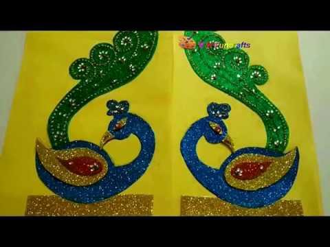 Glitter Foam sheet craft/  peacock theme ganpati decoration PART 1