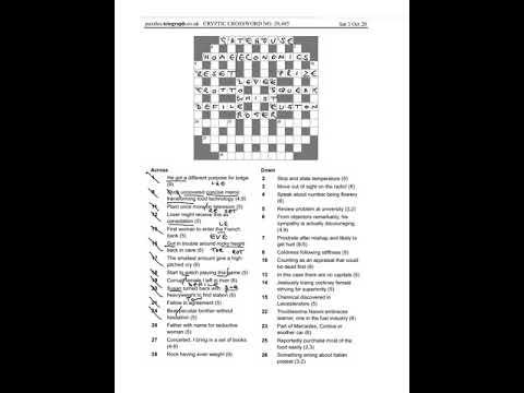 Daily Telegraph Prize Crossword 29485 Walkthrough Saturday 3rd October Youtube