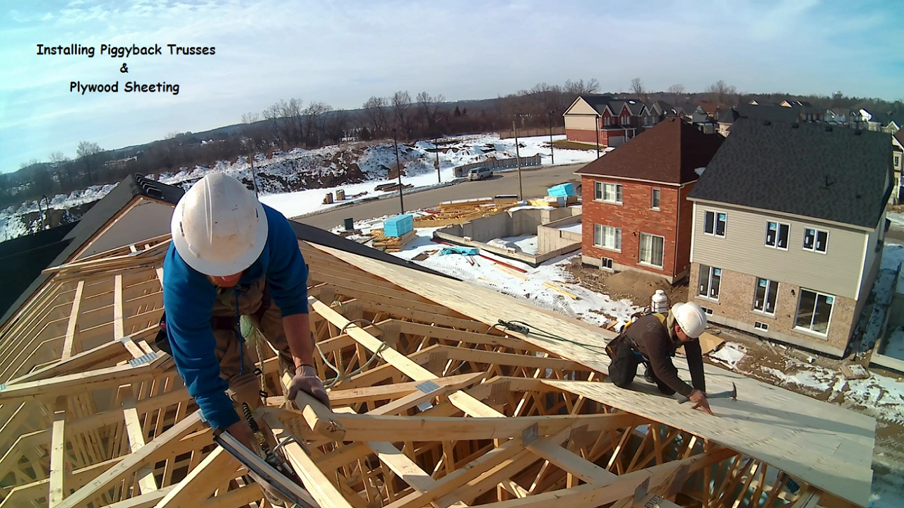 Installing Piggyback Trusses And Plywood Sheeting Youtube