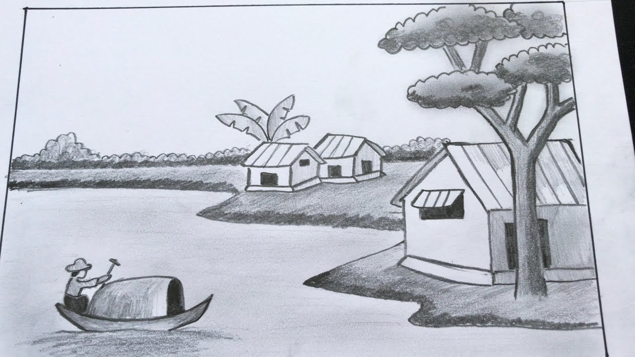 Cách vẽ tranh phong cảnh bằng bút chì   How to draw landscape with pencil