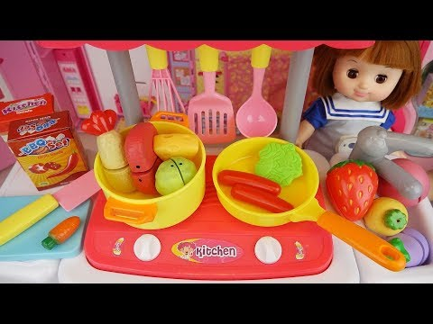 Baby doll kitchen car cooking and refrigerator food play