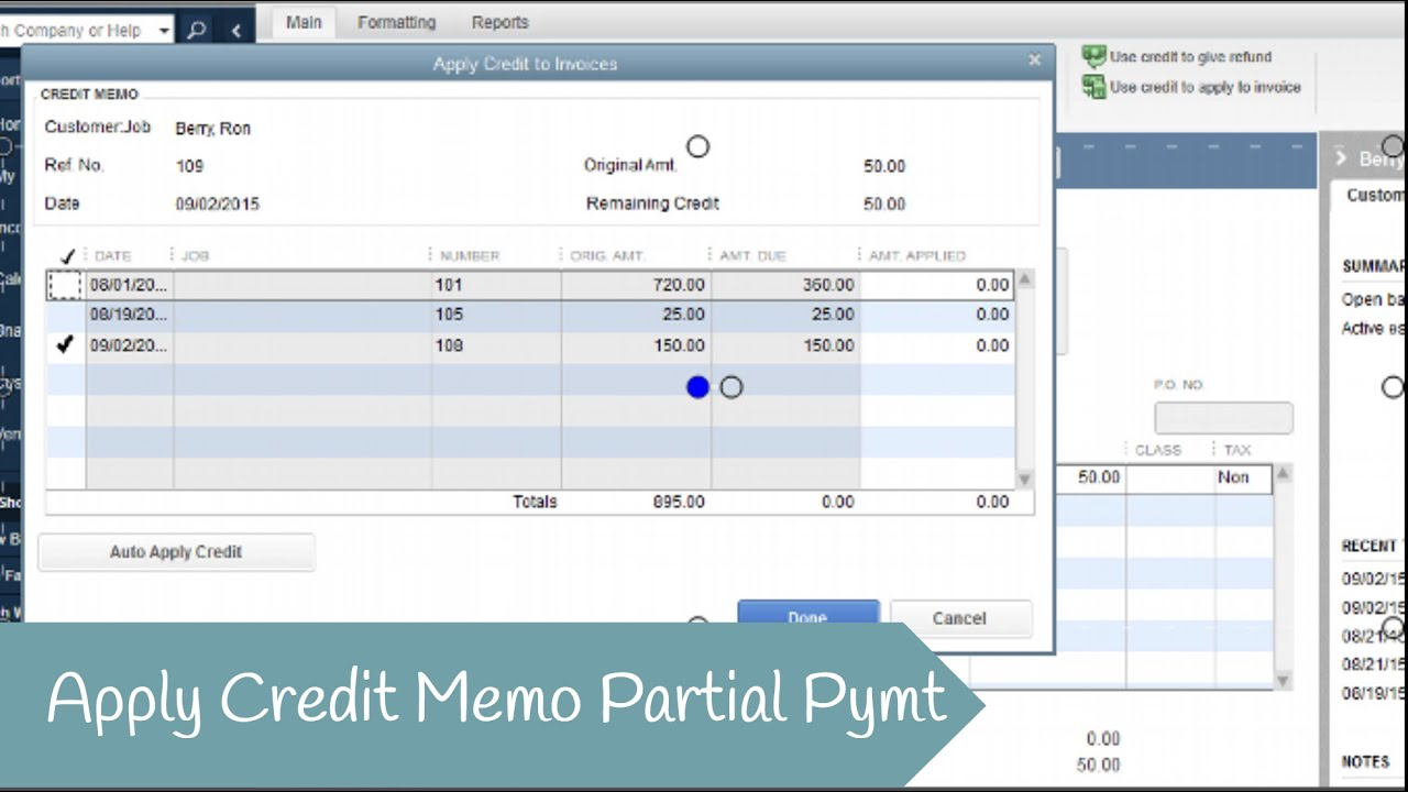 How To Apply A Partial Credit Memo In Quickbooks