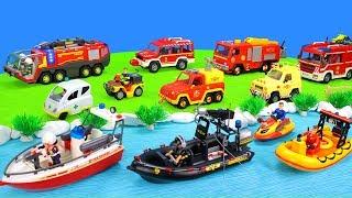 Feuerwehrautos Feuerwehrmann Sam Und Playmobil Rettungsboot: Spielzeug Feuerwehrfilm Für Kinder